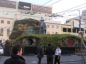 The Hobbit: An Unexpected Journey - A standee outside the Embassy Theatre in Wellington, New Zealand at the world premiere of The Hobbit: An Unexpected Journey