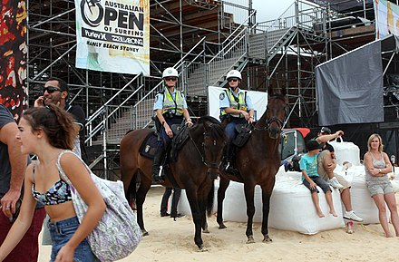NSW Mounted Police officers on duty at an event The Living End (6895667873).jpg