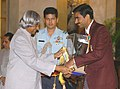 The President Dr. A.P.J. Abdul Kalam presenting the Arjuna Award for the year 2004 to Shri Abhinn Shyam Gupta for Badminton, at a glittering function in New Delhi on August 29, 2005.jpg
