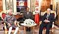 The President of the Assembly of the Representatives of the People, Tunisia, Mr. Mohamed Ennaceur calling on the Vice President, Shri M. Hamid Ansari, in Tunisia on June 02, 2016.jpg