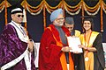 The Prime Minister, Dr. Manmohan Singh presenting the Degree to one of the student of the Banaras Hindu University at the '90th Convocation Ceremony' in Varanasi on March 15, 2008 (1).jpg