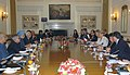 The Prime Minister, Dr. Manmohan Singh with the President of the Republic of Chile, Dr. Michelle Bachelet at the delegation level talks, in New Delhi on March 17, 2009.jpg