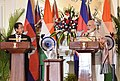 The Prime Minister, Shri Narendra Modi and the Prime Minister of the Kingdom of Cambodia, Mr. Samdech Akka Moha Sena Padei Techo Hun Sen at the Press Statement, at Hyderabad House, in New Delhi on January 27, 2018.jpg