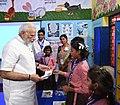 The Prime Minister, Shri Narendra Modi interacting with the children of a primary school, at Narur village, in Uttar Pradesh on September 17, 2018 (3).JPG