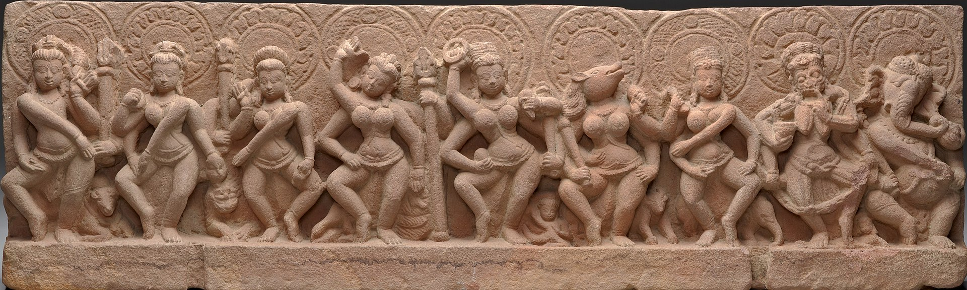 The Seven Mother Goddesses (Matrikas) Flanked by Shiva (left) and Ganesha (right).jpg