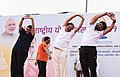 The Vice President, Shri M. Venkaiah Naidu performing Yoga at the 4th International Day of Yoga 2018 celebrations, in Mumbai.JPG