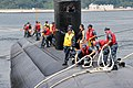 The attack submarine USS Santa Fe (SSN 763) arrives at commander, Fleet Activities Yokosuka in Japan, Aug. 8, 2013, for a scheduled port visit during a routine deployment to the western Pacific region 130808-N-MF277-043.jpg