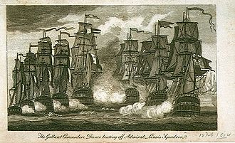 Linois's expedition to the Indian Ocean - The Gallant Commodore Dance beating off Admiral Linois Squadron, unknown artist