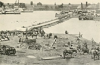 Battle of Port Royal - Pontoon bridge erected for the evacuation