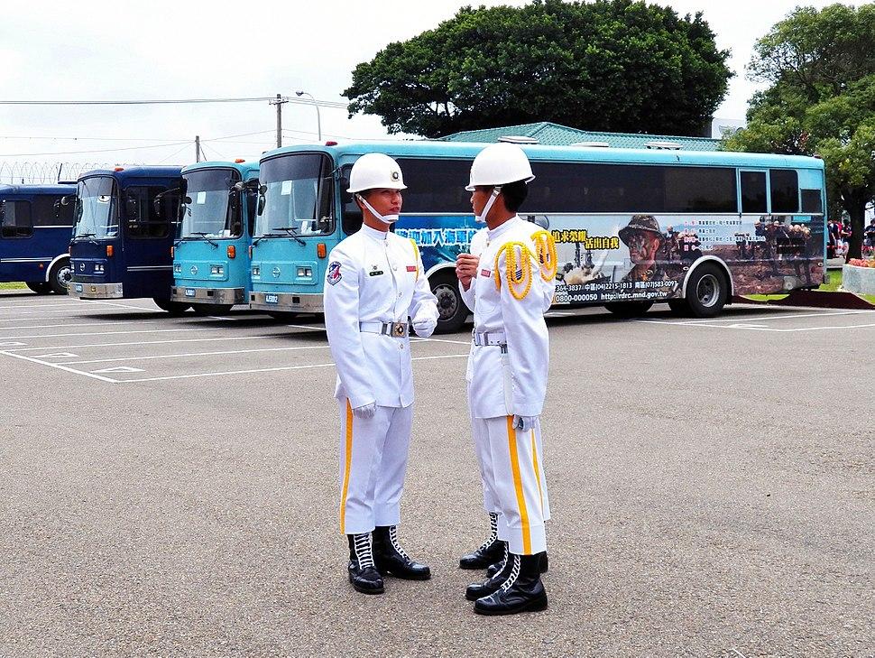Three ROCN Honor Guards Talking at Hsinchu AFB Parking Lots 20120602