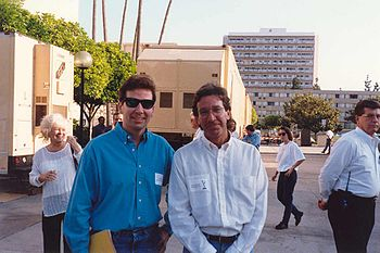 Ken Lillig with Tim Allen at the Emmy rehearsa...