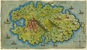 Tinos - Map of Tinos by Giacomo Franco (1597)