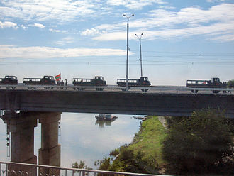 Transnistria War - PMR trucks on the bridge between Tiraspol and Bendery