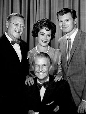 To Tell the Truth - The original daytime panel with Bud Collyer.  From left: Sam Levenson, Mimi Benzell, and Barry Nelson. The fourth panel member was Sally Ann Howes.