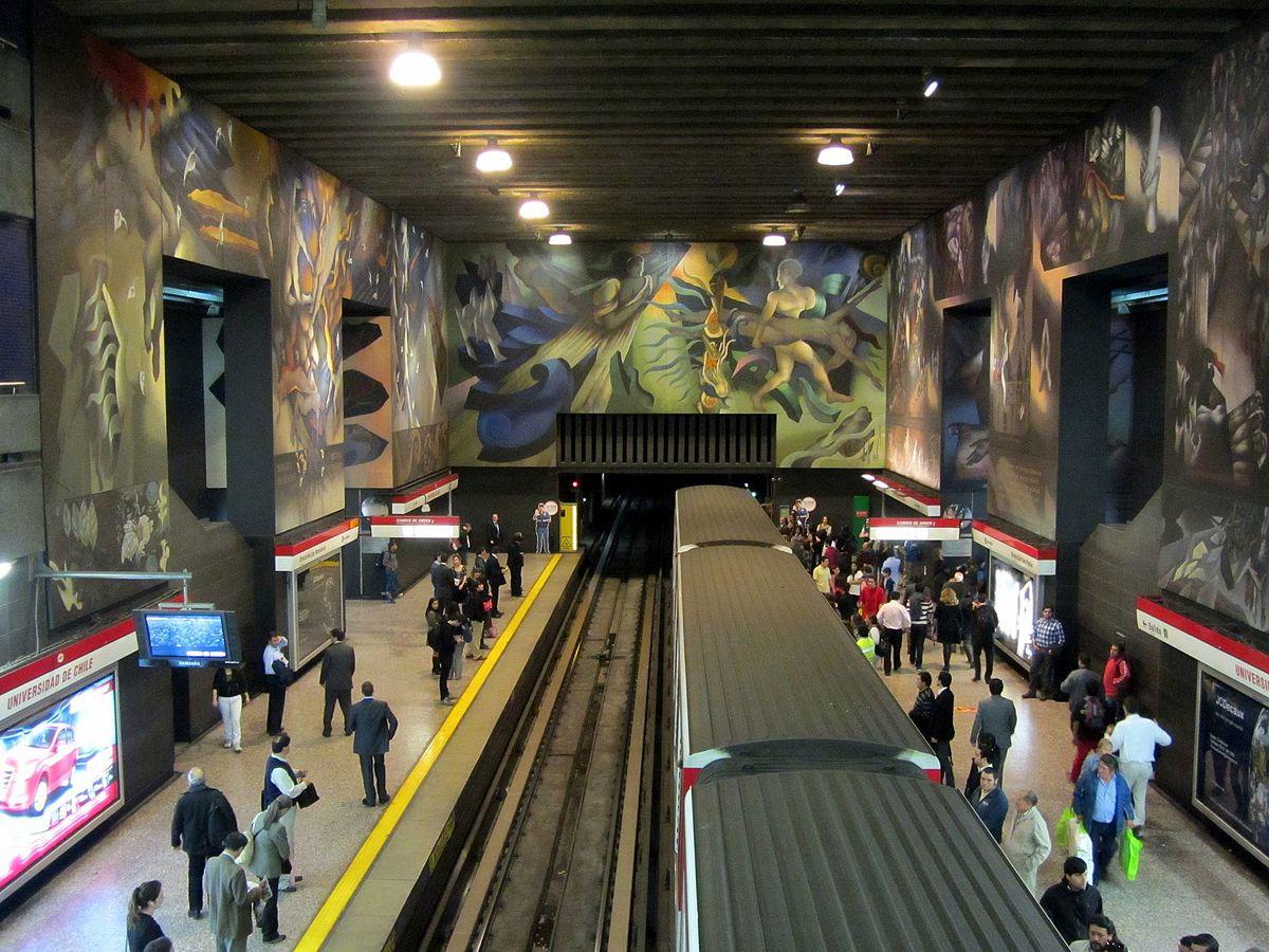 Universidad de chile station wikipedia for Mural metro u de chile