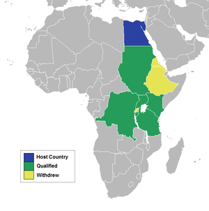 2011 Nile Basin Tournament - A map of Africa showing the qualified nations.
