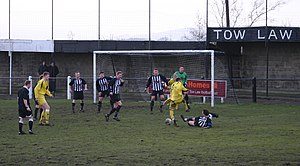 Tow Law Town F.C. - Tow Law Town (black and white stripe shirts) playing Whitley Bay in January 2009