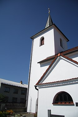 Tower of Church of Saint Giles in Dolní Bory, Bory, Žďár nad Sázavou District.jpg