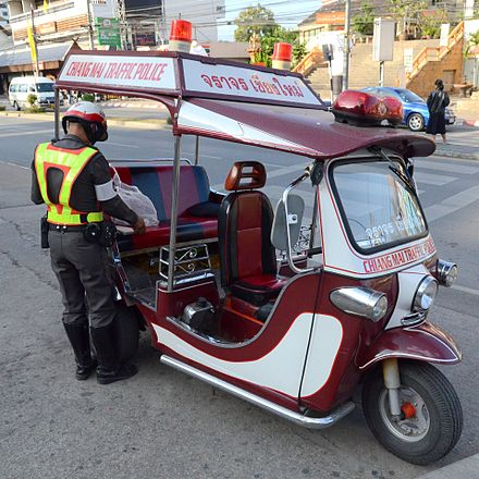 A tuk-tuk used by the police in Chiangmai, Thailand - Auto rickshaw