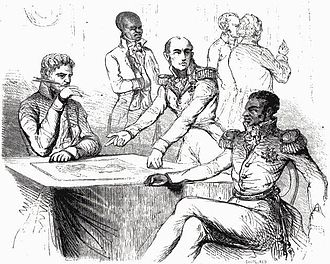 Unification of Hispaniola -  Épinal print showing Mackau forcing Boyer to agree to pay 150 million francs to compensate French planters.
