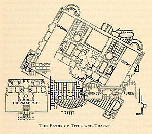 Baths of Trajan - Plan of the Baths of Trajan. Notice the northeast-southwest orientation.