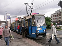 Tram 22 at stop arkady in wroclaw.jpg