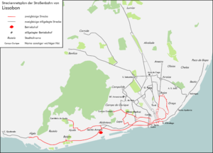 Trams in Lisbon - Map of Tram tracks in Lisbon (network of 2011 in red)