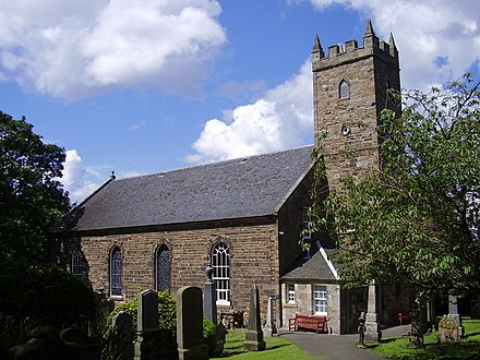 This is the modern building of Tranent parish church, controlled by Thor and granted to Holywood Abbey c. 1150; the older church was replaced around 1800. Tranent Parish Church.jpg