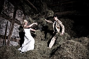 """Trash the dress - Example from a """"trash the dress"""" shoot on a hayloft on a farm"""