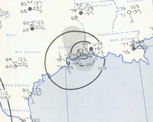 1957 Atlantic hurricane season - Image: Tropical Storm Bertha analysis 10 Aug 1957