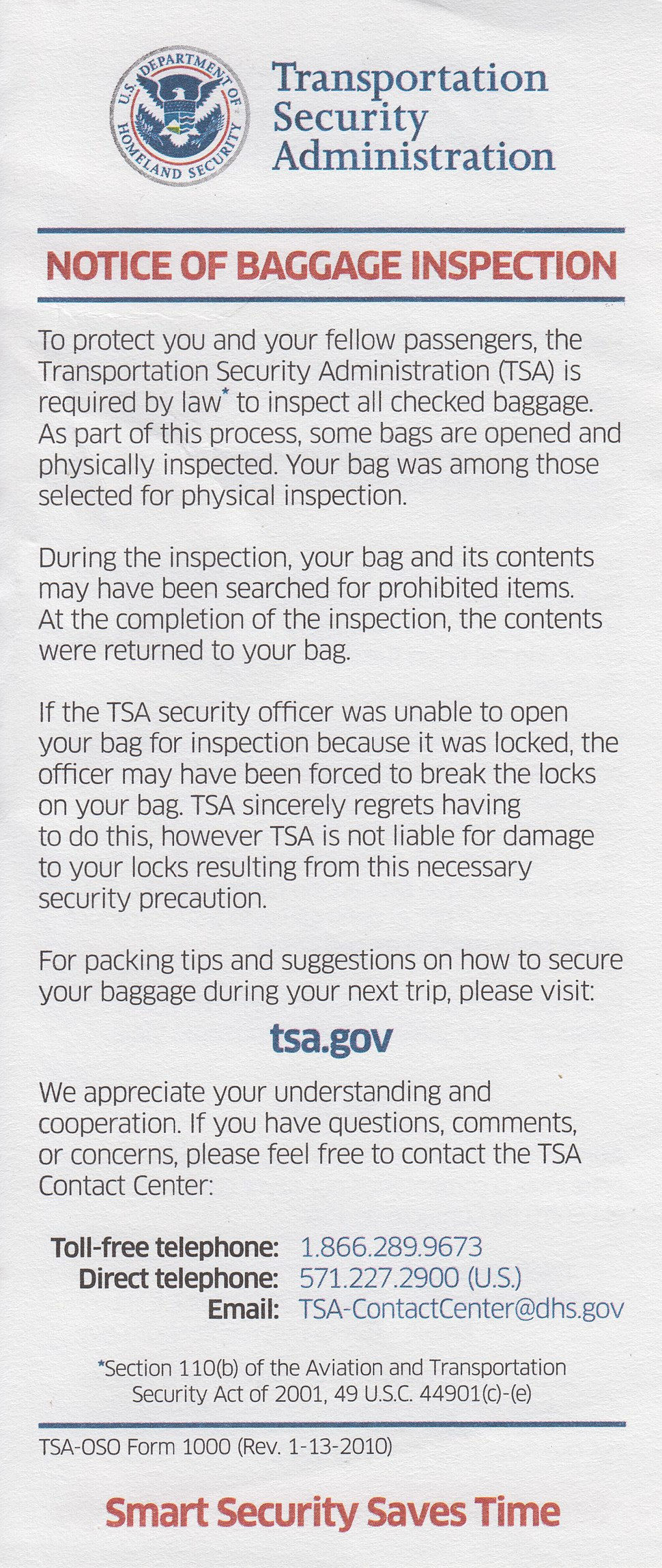 Tsa notice of baggage inspection