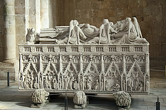 The highly elaborate 14th-century tomb of Peter I of Portugal in Alcobaca Tumulo de D. Pedro I 55c.jpg