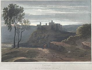 Twilight: view of Harlech Castle, north Wales