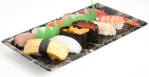 English: Typical Japanese sushi set, as sold i...