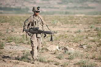 15th Infantry Regiment (United States) - U.S. Army Pfc. Michael Andrade, an infantryman with Bravo Company, 3rd Battalion, 15th Infantry Regiment, 4th Infantry Brigade Combat Team, 3rd Infantry Division, carries an M240B machine gun while on a foot patrol near Combat Outpost Soltan Khel in Wardak province, Afghanistan, 6 June 2013