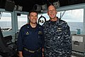 U.S. Navy Vice Adm. Scott H. Swift, right, the commander of the U.S. 7th Fleet, and Capt. Patrick Kelly, the commanding officer of the guided missile cruiser USS Chosin (CG 65), pose for a photo on the ship's 130528-N-GR655-165.jpg