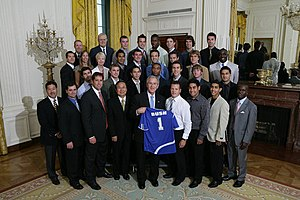 UC Santa Barbara Gauchos - 2006 NCAA soccer champions visit President George W. Bush at the White House.