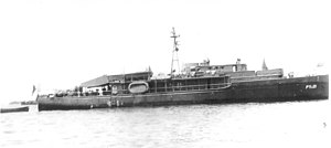 USS Alabaster (PYc-21) at anchor in San Pedro Bay, Philippine Islands while at Navy Yard for modification. c. July 1945