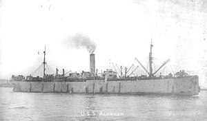 USS Alaskan (ID-4542) - Alaskan arrives in the United States, probably at New York City, in 1919 with her decks filled with American troops returning from World War I service in Europe.