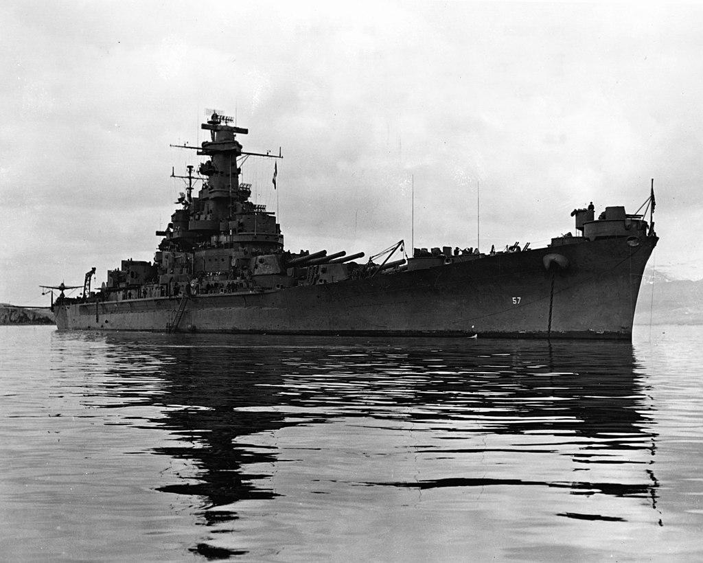 USS South Dakota (BB-57) anchored in Hvalfjörður, Iceland, on 24 June 1943 (NH 97265)
