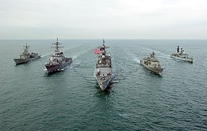 United States Fifth Fleet - U.S. Navy, Royal Navy, and Royal Australian Navy destroyers on joint operations in the Persian Gulf.
