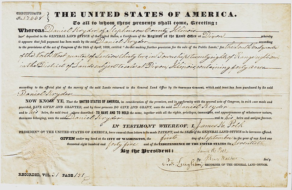 US General Land Office Deed 1845
