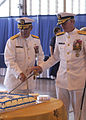 US Navy 030813-N-1407C-005 Rear Adm. Stephen A. Turrcotte and Rear Adm. David Architzel, Commander Navy Region, Mid-Atlantic, cut a cake together just after their Change of Command ceremony.jpg