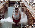 US Navy 030814-N-0000X-002 USS Ohio (SSGN 726) is in dry dock undergoing a conversion from a Ballistic Missile Submarine (SSBN) to a Guided Missile Submarine (SSGN) designation.jpg