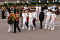 US Navy 040704-N-1693W-003 Official party members conduct a wreath laying ceremony at the Russian Pacific Navy War Glory Memorial in Vladivostok, Russia.jpg