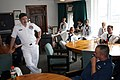 US Navy 060623-N-5367L-007 Master Chief Petty Officer of the Navy (MCPON) Terry Scott holds his final all hands call as MCPON with the crew of USS Constitution in their dining facility.jpg