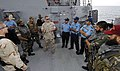 US Navy 070423-N-5169H-134 Aboard guided missile destroyer USS Preble (DDG 88), Coast Guard Gunner's Mate 1st Class Taylor Nobles debriefs Pakistan Navy Ship (PNS) Shahjahan (DD 186) crew members.jpg