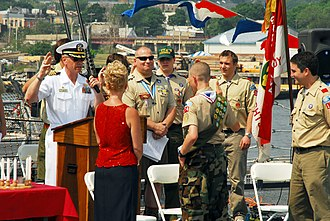 Eagle Scout (Boy Scouts of America) - Image: US Navy 070526 N 5758H 100 Capt. Rick Williams, Commodore, Destroyer Squadron 26, administers the Eagle Scout oath to his nephew during an Eagle Scout ceremony aboard guided missile destroyer USS Oscar Austin (DDG 79), as part