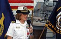 US Navy 070907-N-0486G-003 Lt. Mary Hays expresses her appreciation after receiving the Bronze Star, during a ceremony aboard guided-missile destroyer USS Carney (DDG 64).jpg