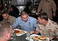 US Navy 090218-N-4236E-034 Vice Adm. Bill Gortney, commander, U.S. Naval Forces Central Command and U.S. 5th Fleet, eats lunch with Sailors and Marines aboard the amphibious assault ship USS Iwo Jima (LHD 7).jpg